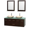 "Wyndham Collection Centra 60"" Double Bathroom Vanity Set with Mirror"