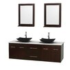 """Wyndham Collection Centra 72"""" Doule Bathroom Vanity Set with Mirror"""