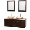"""Wyndham Collection Centra 60"""" Bathroom Vanity Set with Double Sink"""