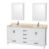 """Wyndham Collection Sheffield 72"""" Bathroom Vanity Set with Double Sink"""