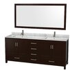 "Wyndham Collection Sheffield 80"" Doule Bathroom Vanity Set with Mirror"