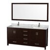 "Wyndham Collection Sheffield 72"" Double Bathroom Vanity Set with Mirror"