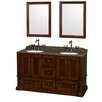 "Wyndham Collection Rochester 60"" Double Bathroom Vanity Set with Mirror"