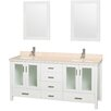 "Wyndham Collection Lucy 72"" Double Bathroom Vanity Set with Mirror"