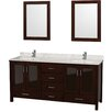 "Wyndham Collection Lucy 72"" Vanity Set with Double Sink"
