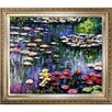 Tori Home Water Lilies by Monet Framed Hand Painted Oil on Canvas in Pink