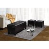 <strong>Simpli Home</strong> Dover 3 Piece Leather Storage Ottoman
