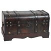 <strong>Quickway Imports</strong> Small Pirate Style Wooden Treasure Chest in Antique Cherry