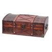 Quickway Imports Pirate Treasure Chest  in Antique Cherry with Leather X