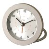Bai Design Diecast Round Travel Alarm Clock in Silver