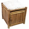 <strong>Bamboo54</strong> Natural Bamboo Square Storage Stool with Cushion