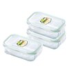 Kinetic Glasslock 6-Piece Rectangular Tempered Glass Container Set with Sealed Lid