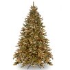 National Tree Co. Snowy Concolor Fir 7.5' Green Artificial Christmas Tree with 750 Clear Lights and Stand