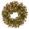 National Tree Co. Pre-Lit Glittery Mountain Spruce Wreath with 50 Battery-Operated White LED Lights