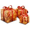 National Tree Co. 3 Piece Pre-Lit Assorted Sisal Gift Boxes Christmas Decoration Set
