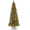 National Tree Co. Glittery Bristle Pine 7.5' Green Slim Artificial Christmas Tree with 500 Colored & Clear Lights