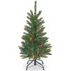National Tree Co. 3' Green Pencil Kingswood Fir Artificial Christmas Tree with Multi-Colored Lights with Stand