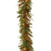 """National Tree Co. Decorative Pre-Lit 6' x 12"""" White Pine Garland with White & Red LED Lights"""
