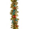 """National Tree Co. Decorative Pre-Lit 9' x 14"""" Retro Garland with 50 Battery-Operated White LED Lights"""