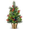 National Tree Co. Crestwood Spruce 2' Green Small Artificia Christmas Tree with 35 White Lights with LED