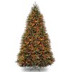 National Tree Co. Dunhill Fir 9' Hinged Green Artificial Christmas Tree with 900 LED Multicolored Lights