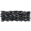 "EliteTile Brook Stone 12"" x 4"" Stone Mosaic Wall Tile in Black Horizon"