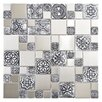 EliteTile Metallic Random Sized Resin and Stainless Steel Over Porcelain Mosaic Tile in Silver