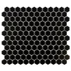 "<strong>EliteTile</strong> Retro 7/8"" x 7/8"" Glazed Porcelain Hexagon Mosaic in Black"