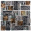 EliteTile Eden Random Sized Glass and Stone Polished Mosaic in Walnut