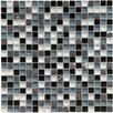 "EliteTile Sierra 5/8"" x 5/8"" Polished Glass and Stone Mini Mosaic in Tuxedo"