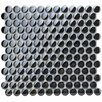 "EliteTile Sable 7/8"" x 7/8"" Polished Glass Penny Mosaic in Black Mirror"