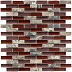 "EliteTile Sierra 1-7/8"" x 1/2"" Polished Glass and Stone Subway Mosaic in Bordeaux"