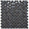 "Posh 11-1/4"" x 12"" Penny Round Porcelain Mosaic Wall Tile in Black"