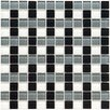 "EliteTile Ambit 7/8"" x 7/8"" Polished Basket Monochrome Glass Mosaic Wall Tile in Multi"