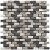 "<strong>EliteTile</strong> Grizelda 1-1/4"" x 1/2"" Natural Stone Mosaic in Charcoal"