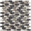 "EliteTile Grizelda 1-1/4"" x 1/2"" Natural Stone Unpolished Mosaic in Charcoal"