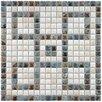 "EliteTile Samoan 9/16"" x 9/16"" Greek Key Glazed Porcelain Mural Mosaic in Gray, White and Slate"