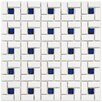 <strong>EliteTile</strong> Retro Random Sized Glazed Porcelain Spiral Mosaic in White and Blue