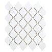 """EliteTile Arabesque 2-3/4"""" x 1-7/8"""" Porcelain Glazed Mosaic in Glossy White (Set of 10)"""
