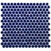 """EliteTile Penny 3/4"""" x 3/4"""" Glazed Porcelain Mosaic in Cobalt"""