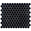 "EliteTile Retro 7/8"" x 7/8"" Glazed Porcelain Hex Mosaic in Matte Black"
