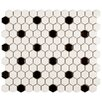 "<strong>EliteTile</strong> Retro 7/8"" x 7/8"" Glazed Porcelain Mosaic in Matte White with Black Dot"