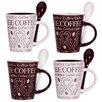 <strong>Home Essentials and Beyond</strong> Coffee Swirl 10 oz. Mug and Spoon (Set of 4)