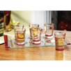 <strong>Home Essentials</strong> Celebrations 1.25 oz.. 7 Piece Red Shot Glasses with Tray