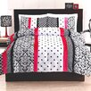 Black and Pink Dot Stripe Comforter Set