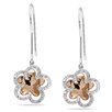 <strong>Amour</strong> Round Cut Diamond Floral Drop Earrings