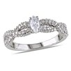 Amour Sterling Silver Marquise Round Cut Diamond Fashion Ring