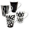 Konitz Black & White Assorted Mugs 4 Piece Set