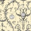 York Wallcoverings Black and White Neoclassic Urn Toile Wallpaper