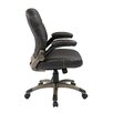 Office Star Products Mid Back Eco Leather Executive Chair with Adjustable Padded Flip Arms